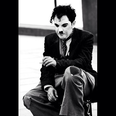 #streetperformer #london #charliechaplin #blackandwhite #cigarettebreak #impersonator