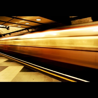 It's all a blur. #London #tube #underground #blur #slowshutterspeed #orange #speed #transport