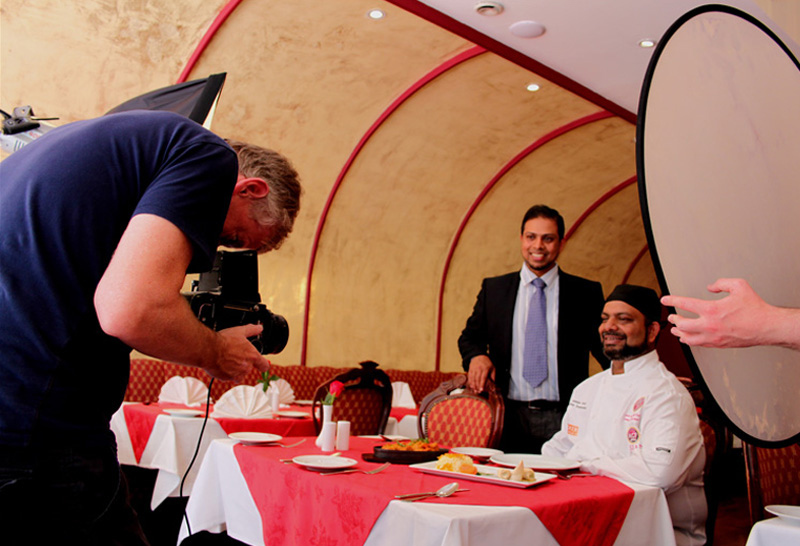 Photographing Jaked and Shamim Syed at the Durbar Restaurant